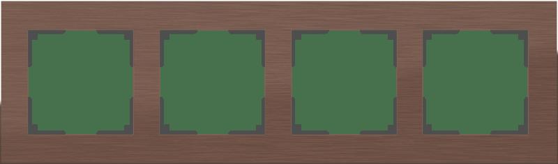 WL11-Frame-04 / Рамка на 4 поста (коричневый алюминий)