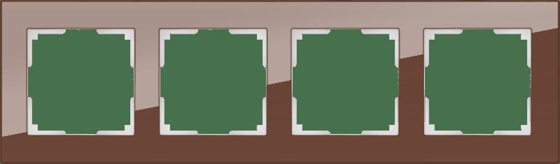 WL01-Frame-04 / Рамка на 4 поста (мокко,стекло)