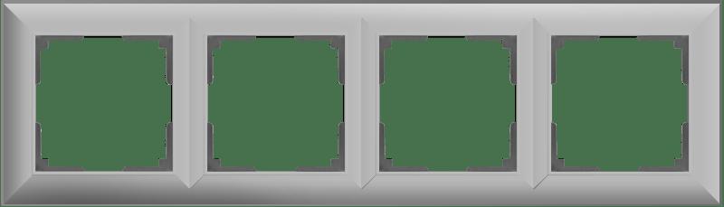 WL14-Frame-04/ Рамка на 4 поста (серебряный)
