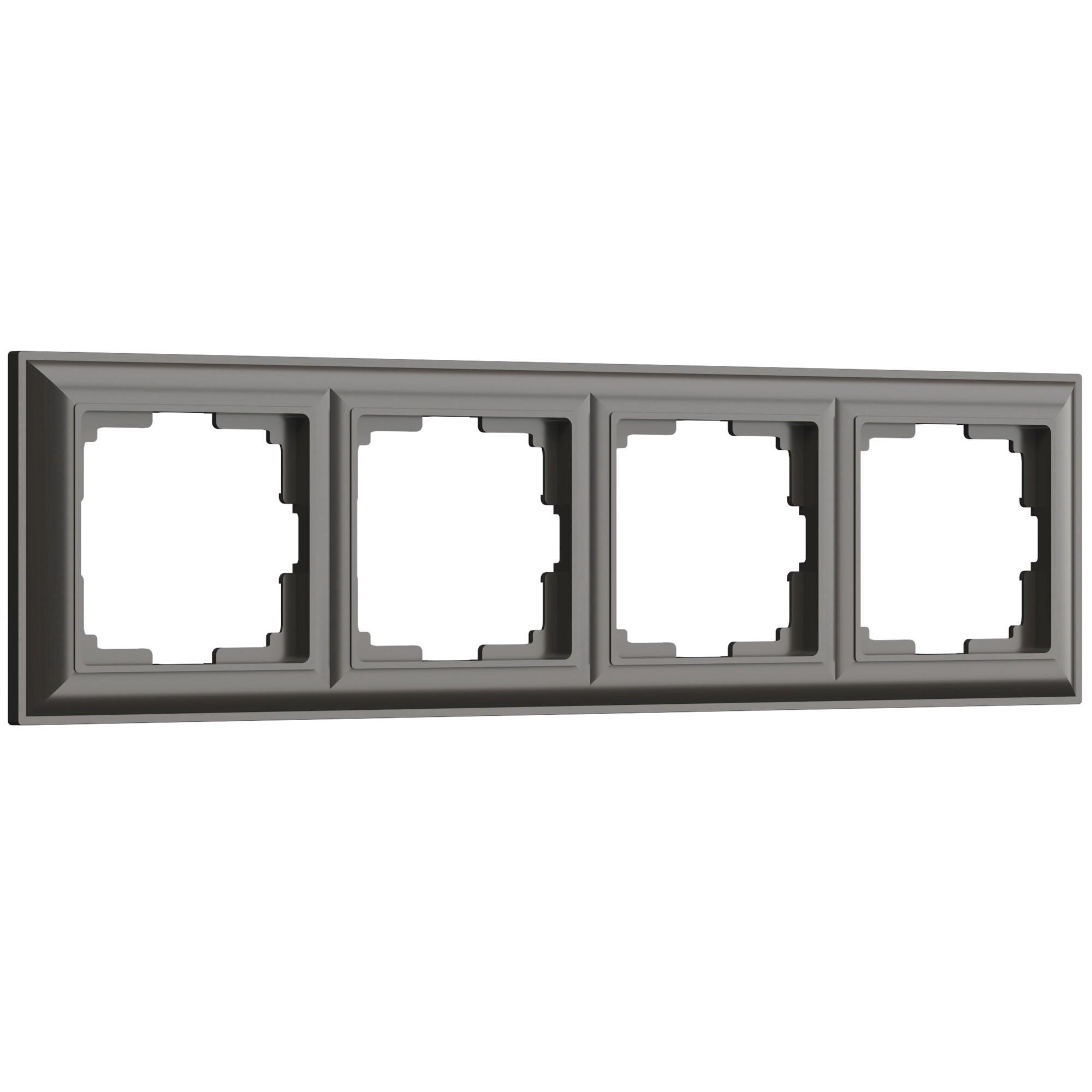 WL14-Frame-04/ Рамка на 4 поста (серо-коричневый)