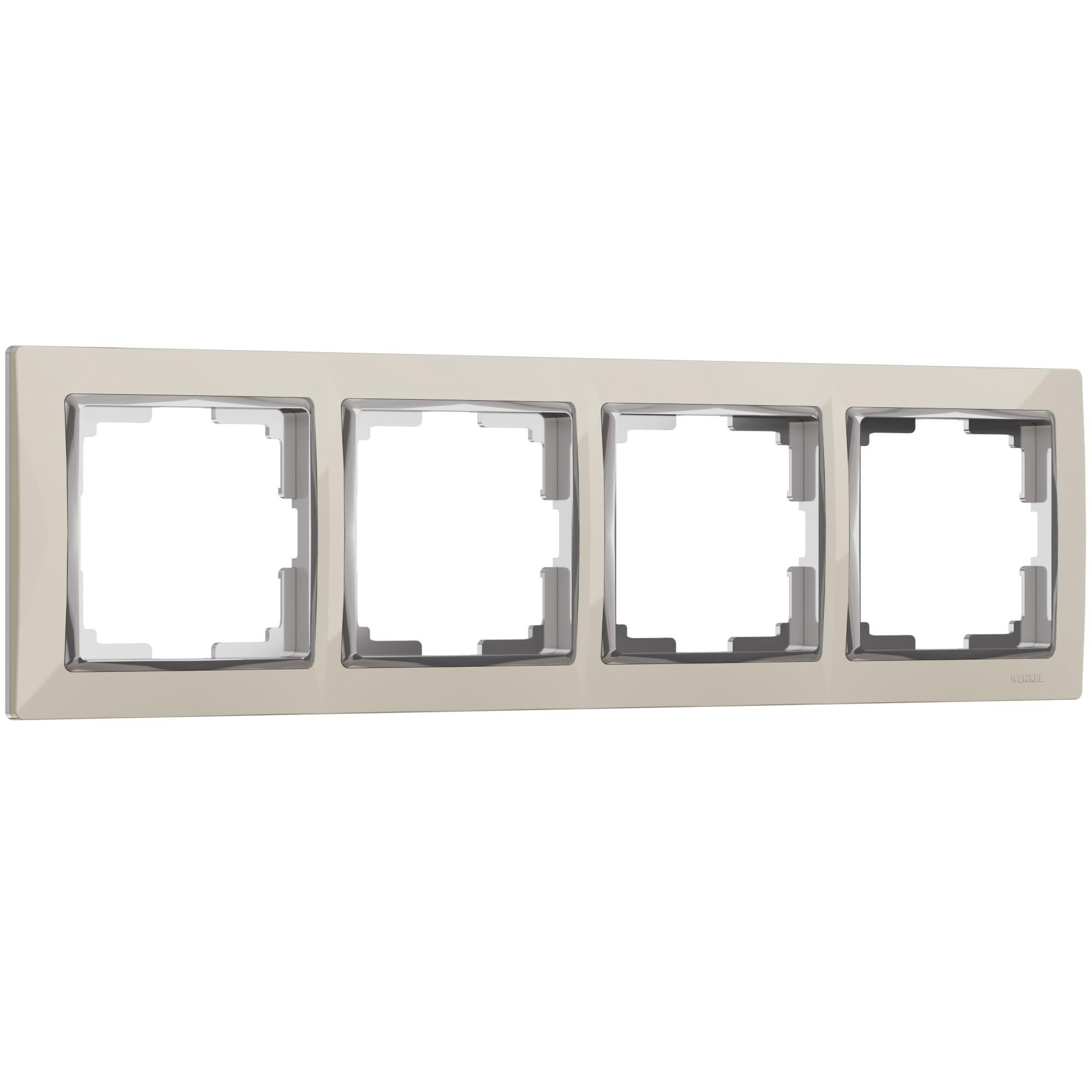 WL03-Frame-04-ivory /Рамка на 4 поста (слоновая кость/хром)