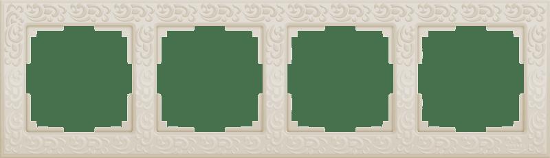 WL05-Frame-04-ivory /Рамка на 4 поста (слоновая кость)
