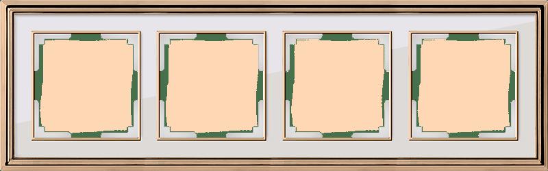 WL17-Frame-04/ Рамка на 4 поста (золото/белый)