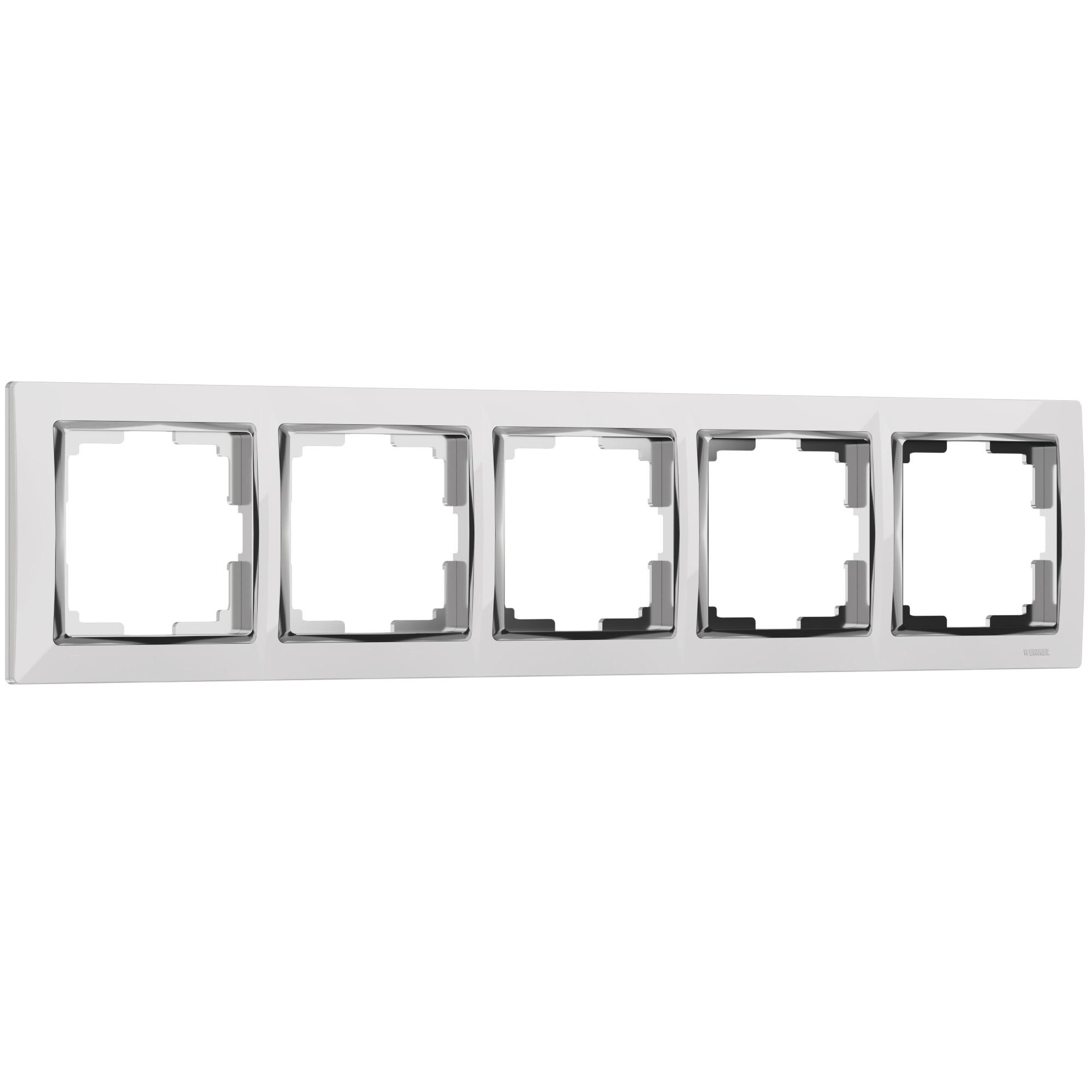 WL03-Frame-05-white /Рамка на 5 постов (белый/хром)