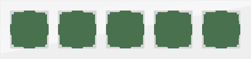 WL01-Frame-05 / Рамка на 5 постов (белый матовый,стекло)