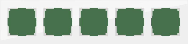 WL01-Frame-05 / Рамка на 5 постов (белый,стекло)