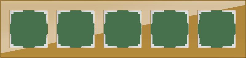 WL01-Frame-05 / Рамка на 5 постов (бронзовый,стекло)