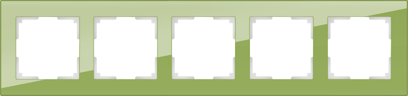 WL01-Frame-05 / Рамка на 5 постов (фисташковый,стекло)
