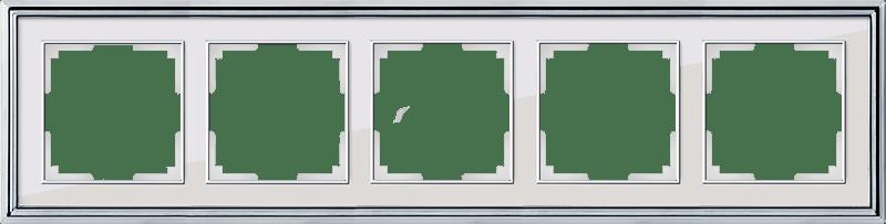 WL17-Frame-05/ Рамка на 5 постов (хром/белый)