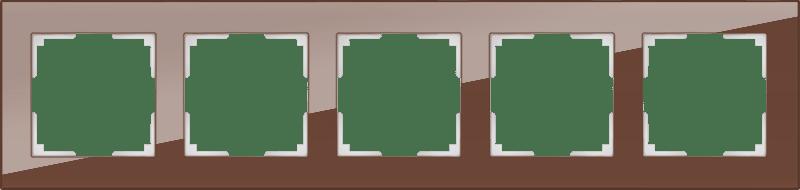 WL01-Frame-05 / Рамка на 5 постов (мокко,стекло)