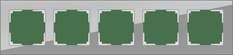WL01-Frame-05 / Рамка на 5 постов (серый,стекло)