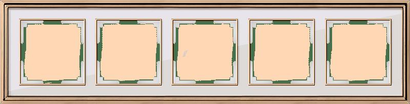 WL17-Frame-05/ Рамка на 5 постов (золото/белый)