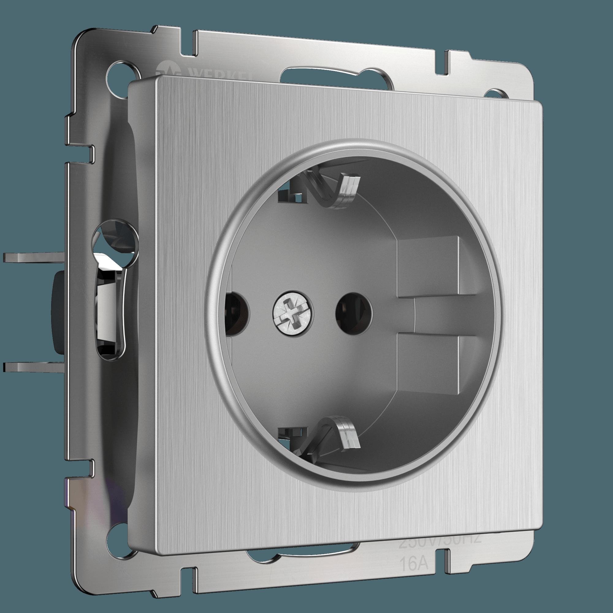 WL09-SKGS-01-IP44 / Розетка с заземлением и шторками (cеребряный рифленый)