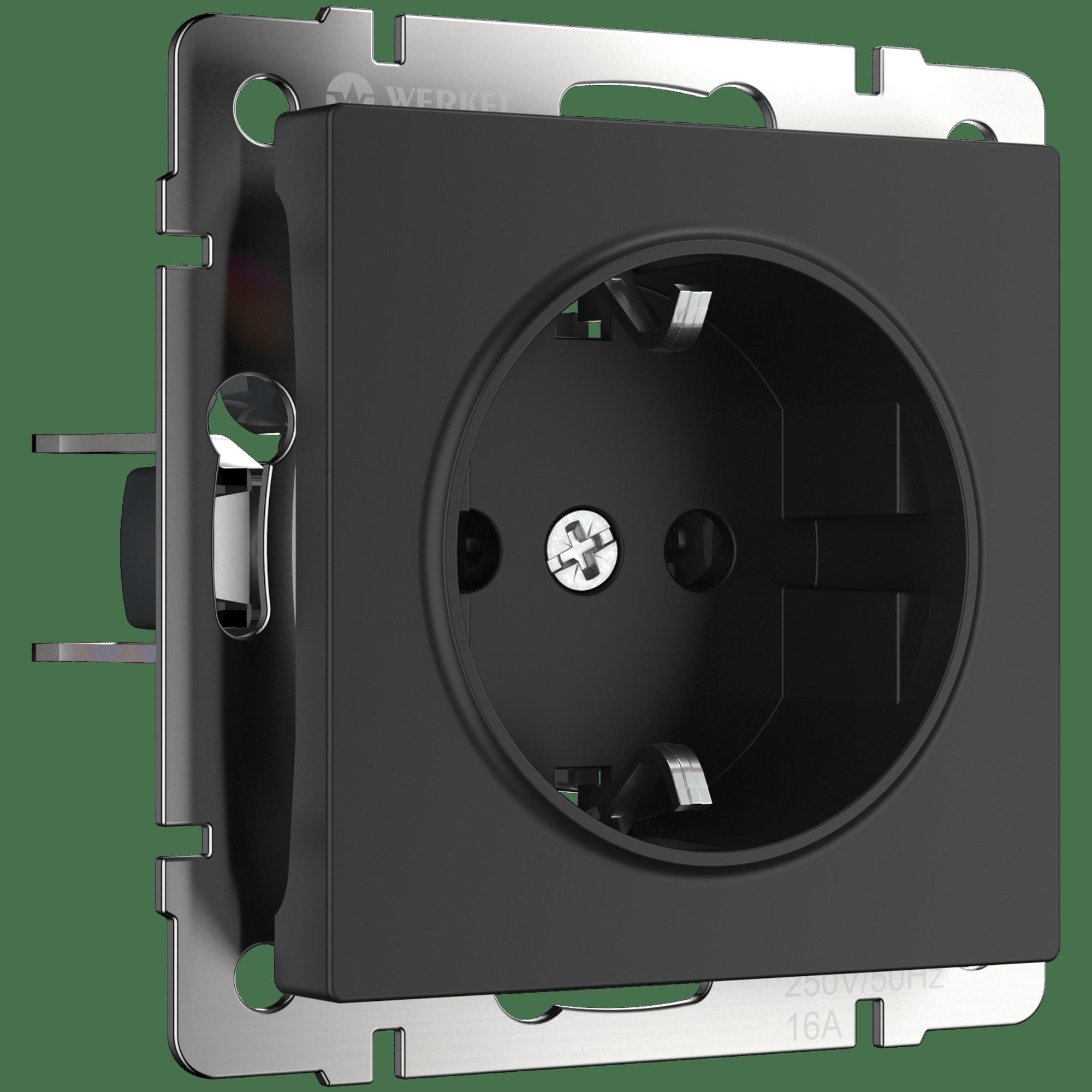 WL08-SKGS-01-IP44/ Розетка с заземлением и шторками  (черный матовый)