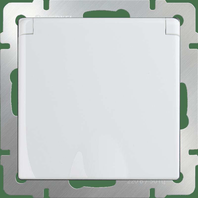 WL01-SKGSC-01-IP44 / Розетка влагозащ. с зазем. с защит. крышкой и шторками (белая)