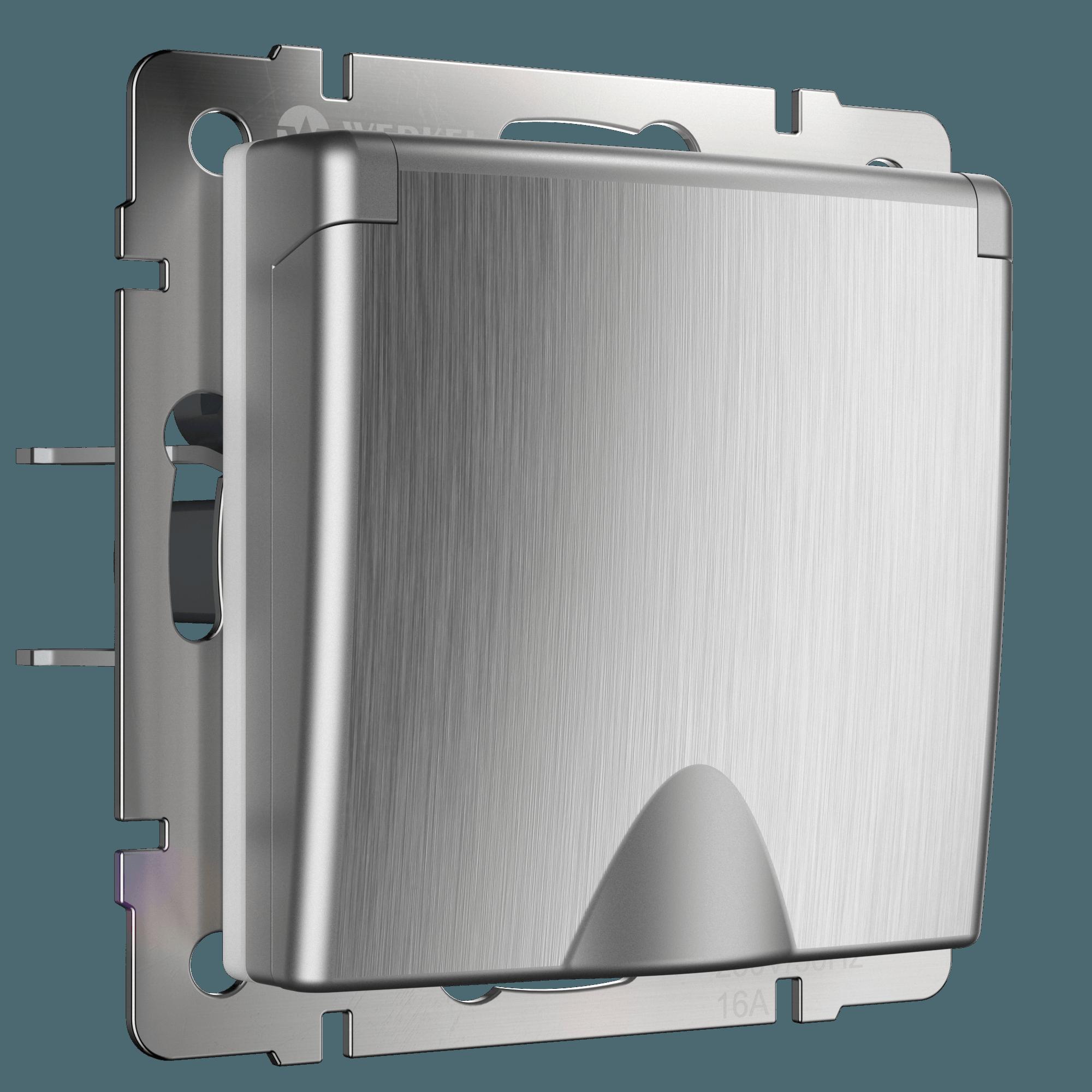 WL09-SKGSC-01-IP44 / Розетка влагозащ. с зазем. с защит. крышкой и шторками (cеребряный рифленый)