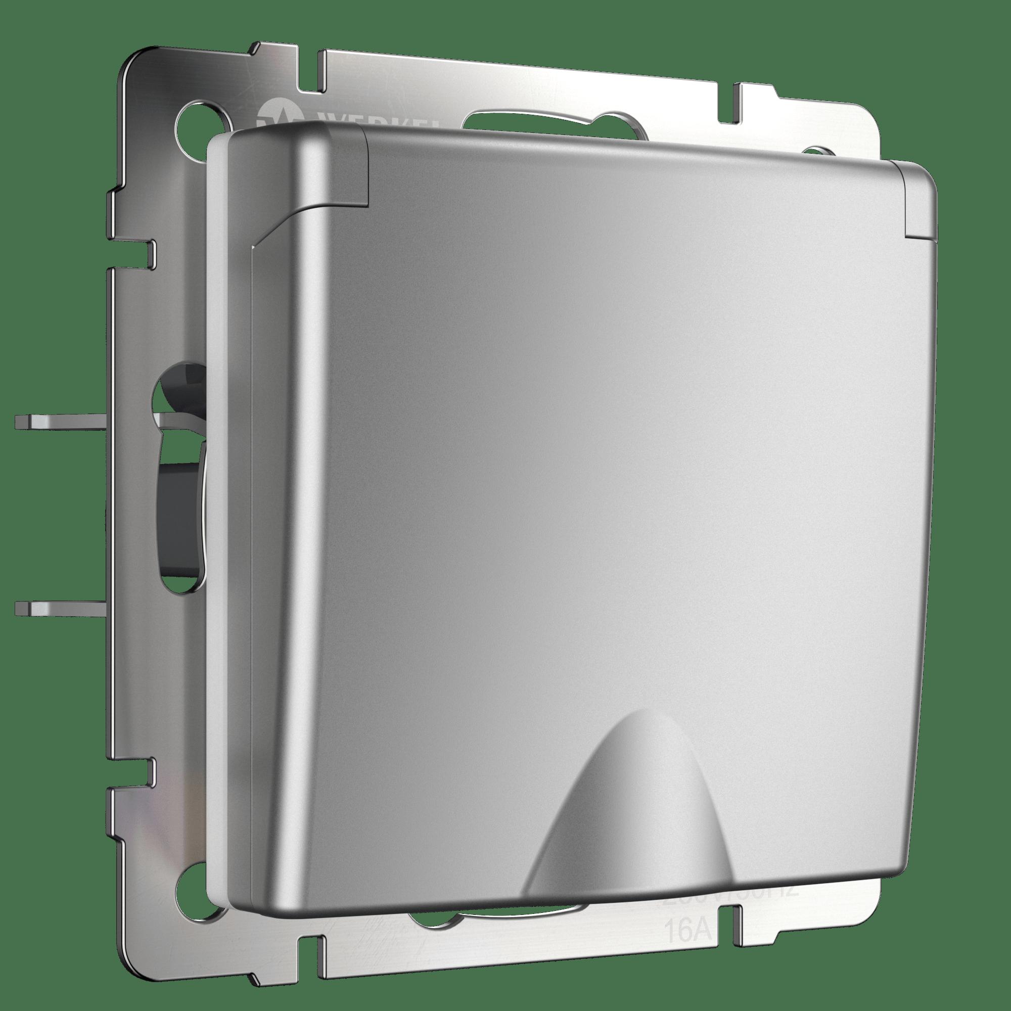 WL06-SKGSC-01-IP44 /Розетка влагозащ. с зазем. с защит. крышкой и шторками (серебряный)