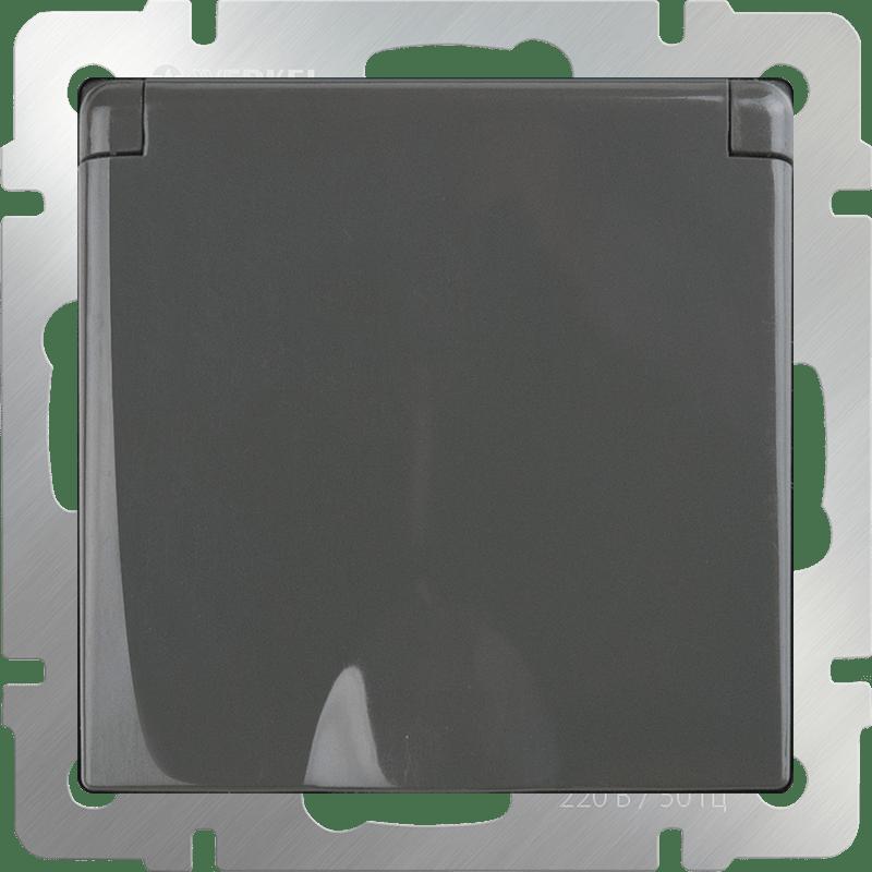 WL07-SKGSC-01-IP44 /Розетка влагозащ. с зазем. с защит. крышкой и шторками  (серо-коричневый)