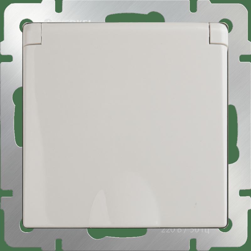 WL03-SKGSC-01-IP44-ivory / Розетка влагозащ. с зазем. с защит. крышкой и шторками  (слоновая кость)