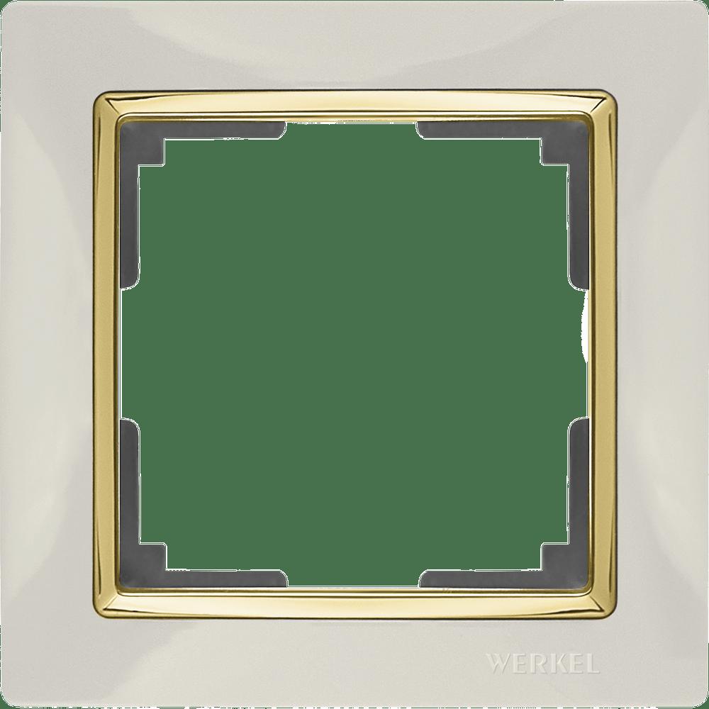 WL03-Frame-01-ivory-GD/ Рамка на 1 пост (слоновая кость/золото)