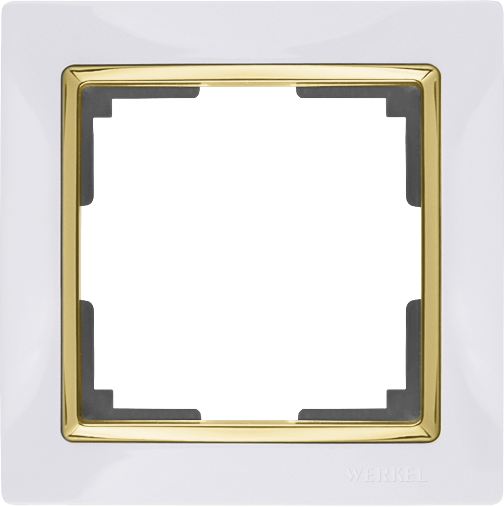 WL03-Frame-01-white-GD/ Рамка на 1 пост (белый/золото)