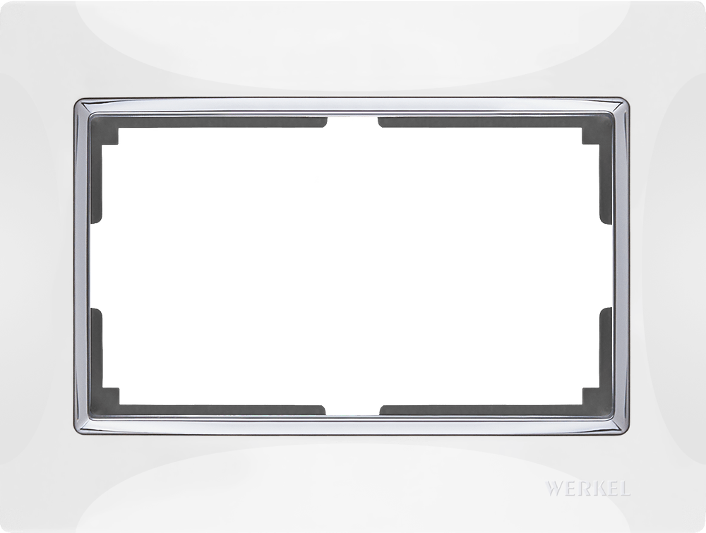 WL03-Frame-01-DBL-white / Рамка для двойной розетки (белый/хром)