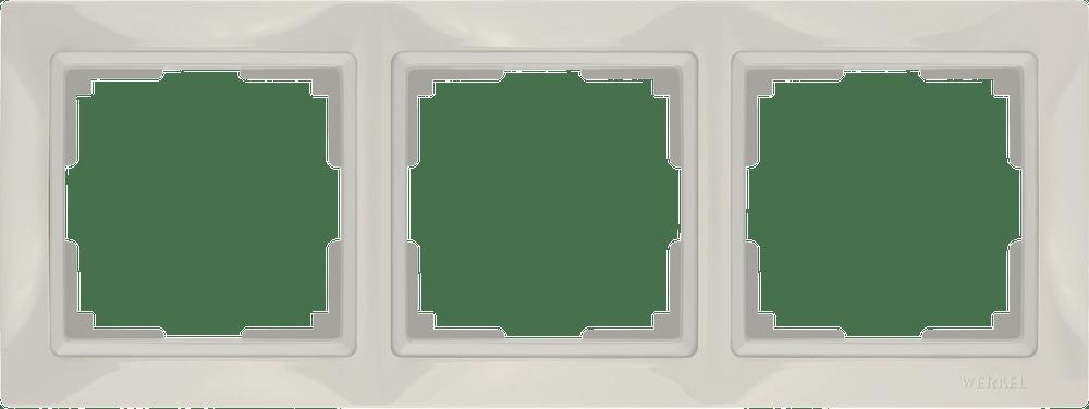 WL03-Frame-03/ Рамка на 3 поста (слоновая кость, basic)