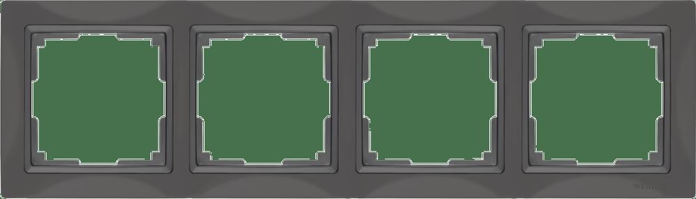 WL03-Frame-04/ Рамка на 4 поста (серо-коричневый, basic)