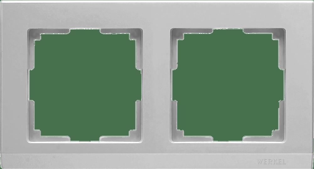WL04-Frame-02 /Рамка на 2 поста (серебряный)