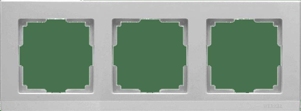 WL04-Frame-03 /Рамка на 3 поста (серебряный)
