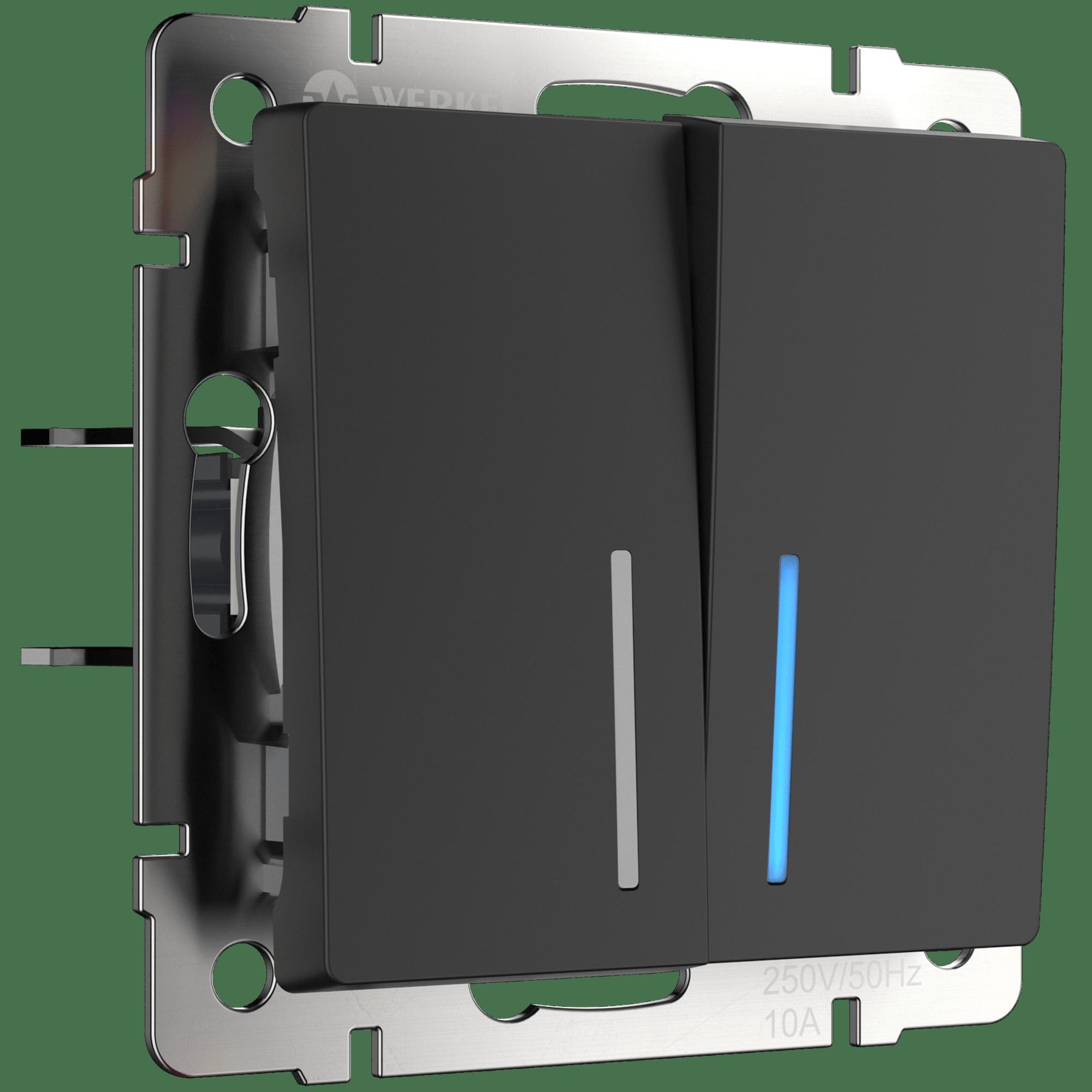 WL08-SW-2G-2W-LED/Выключатель двухклавишный проходной с подсветкой (черный матовый)