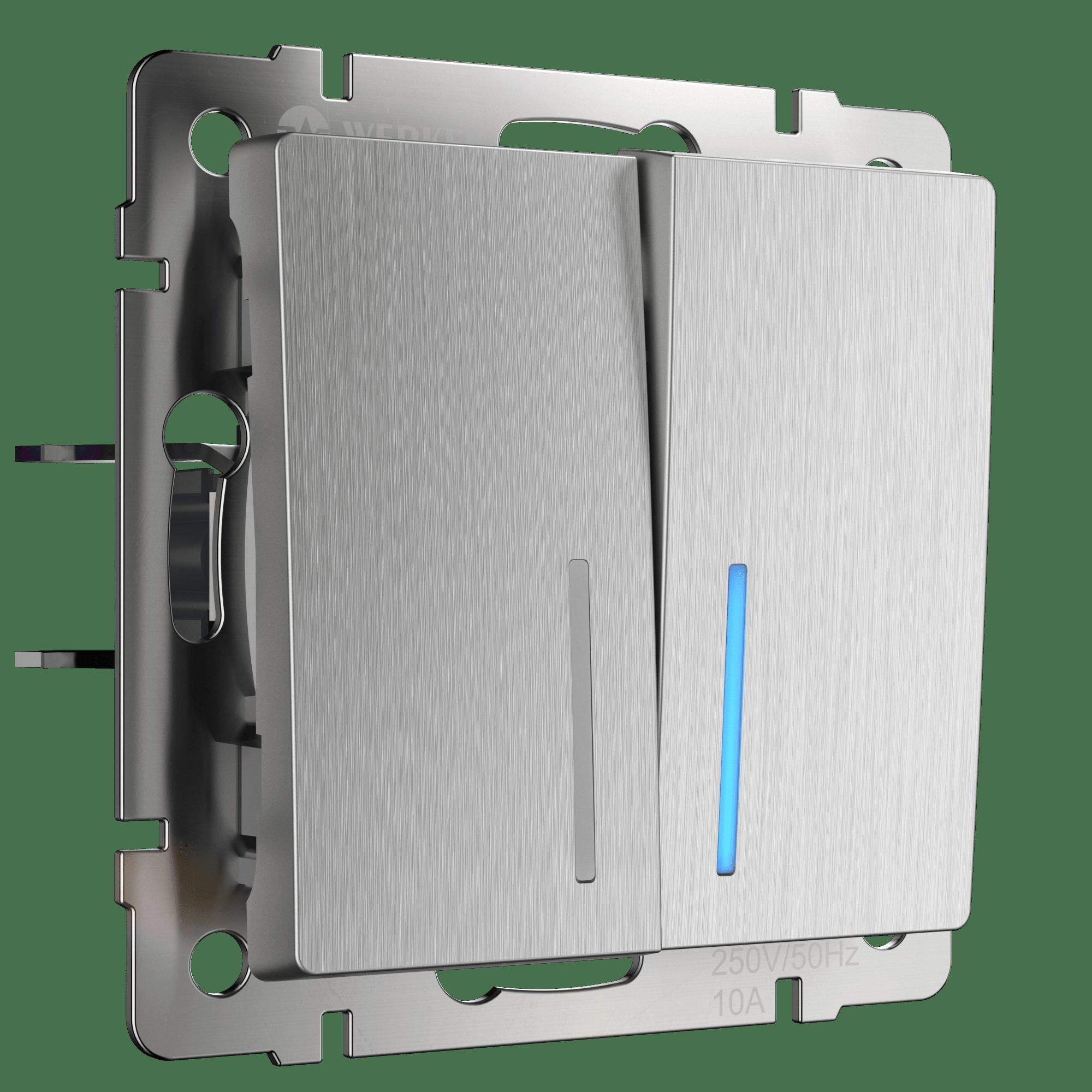 WL09-SW-2G-LED / Выключатель двухклавишный с подсветкой (cеребряный рифленый)