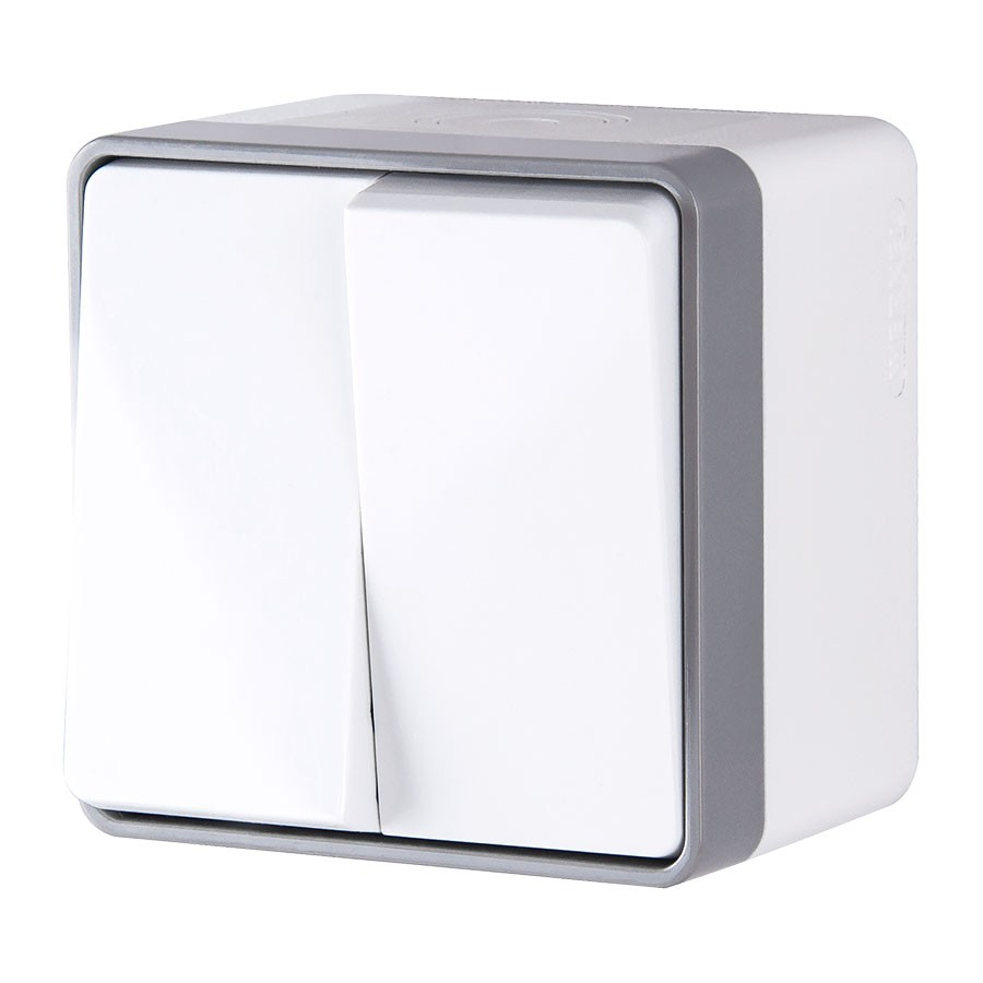 WL15-03-02/ Выключатель двухклавишный влагозащищенный Gallant (белый)