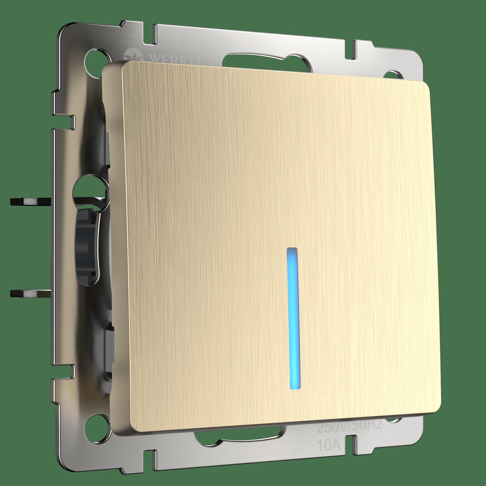 WL10-SW-1G-2W-LED / Выключатель одноклавишный проходной с подсветкой (шампань рифленый)