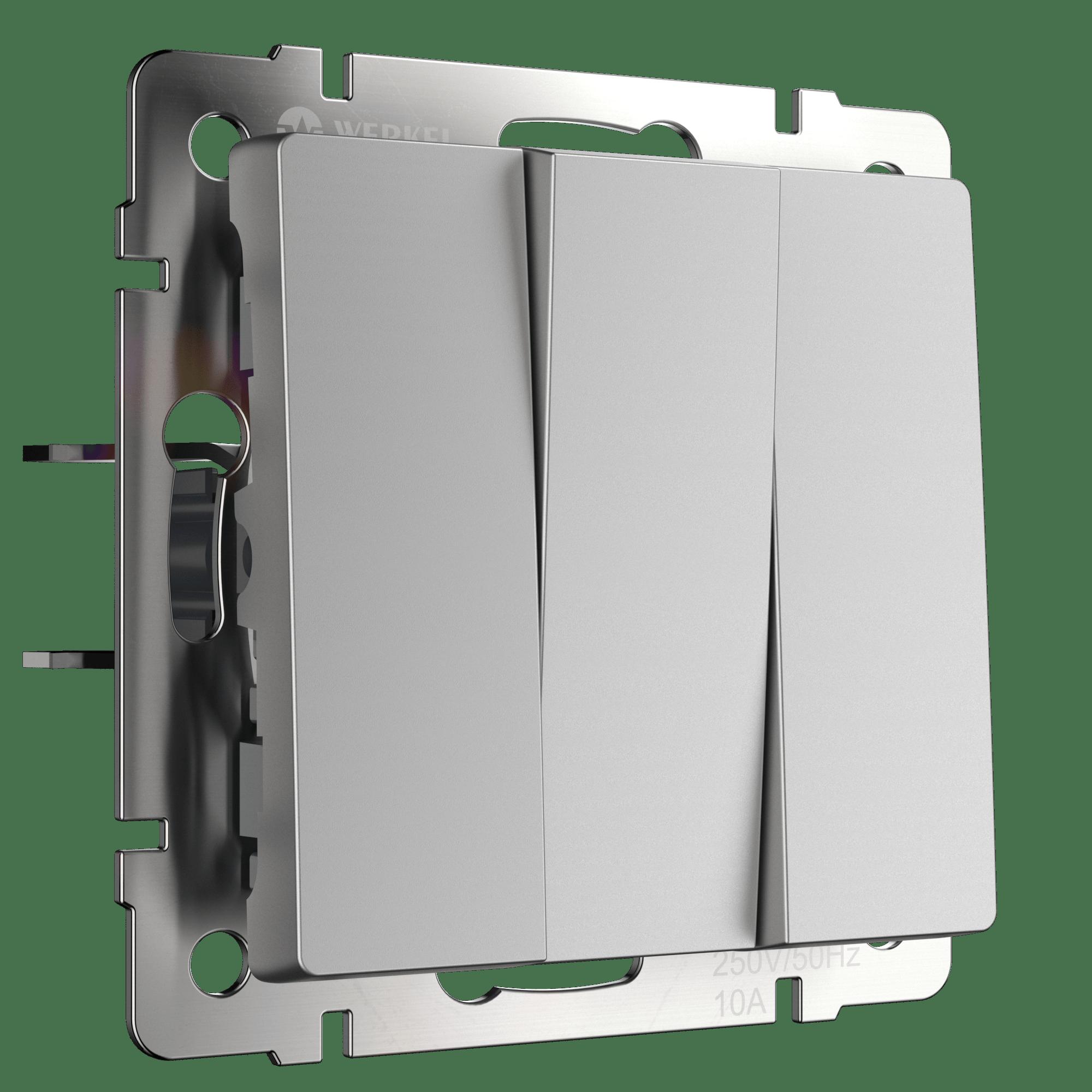 WL06-SW-3G/Выключатель трехклавишный (серебряный)