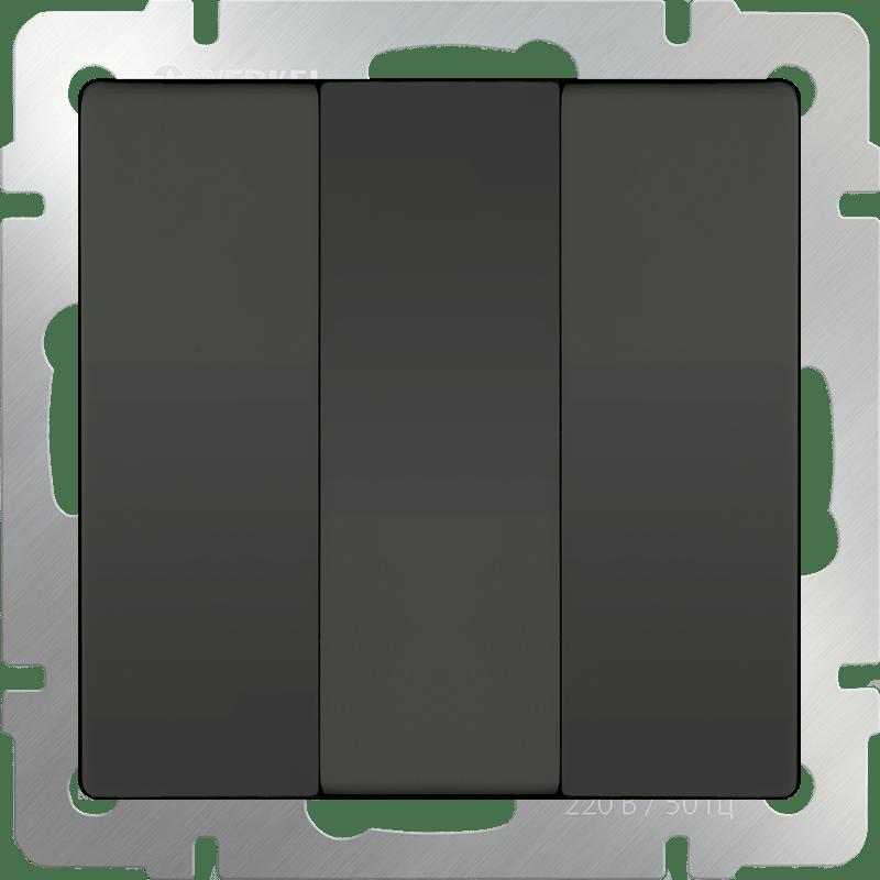 WL07-SW-3G/Выключатель трехклавишный  (серо-коричневый)