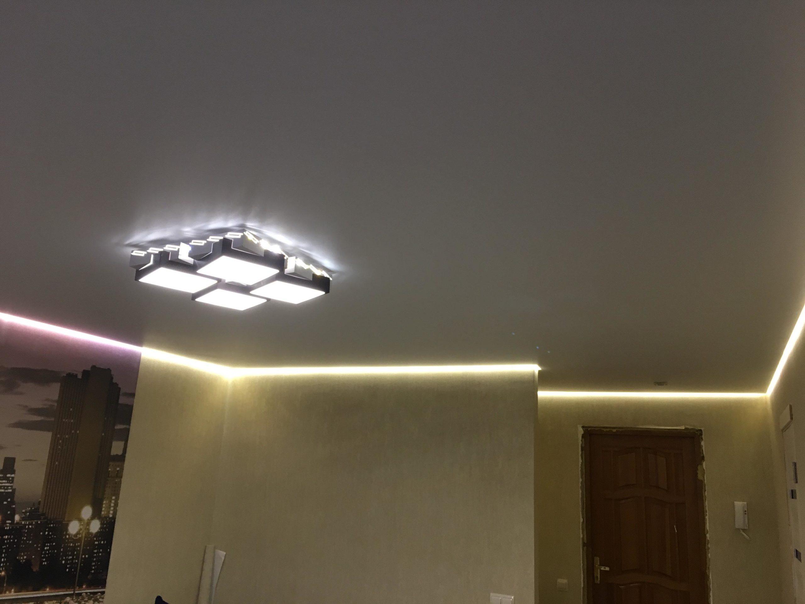 красивые натяжные потолки абажур